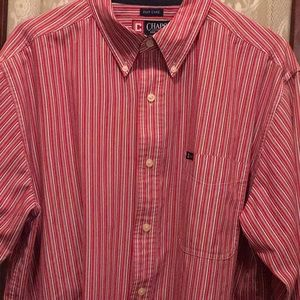🔥CLEARANCE🔥 L XL Red/Pink Striped CHAPS Shirt